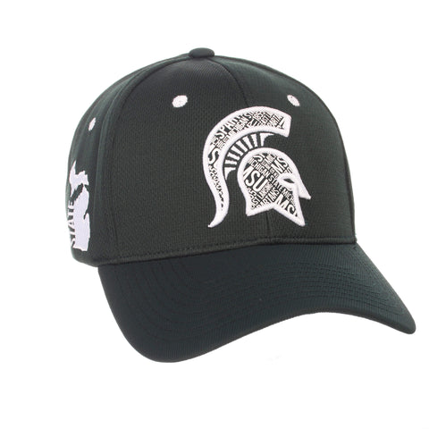"Shop Michigan State Spartans Zephyr Forest Green ""Rambler"" Stretch Fit Hat Cap (M/L)"