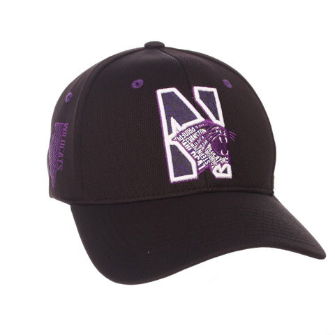 "Shop Northwestern Wildcats Zephyr Black ""Rambler"" Stretch Fit Hat Cap (M/L)"