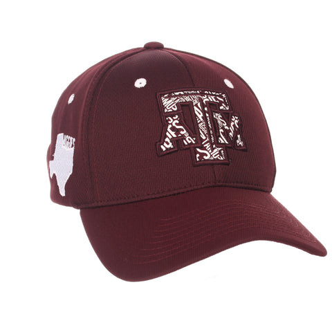 "Texas A&M Aggies Zephyr Maroon ""Rambler"" Structured Stretch Fit Hat Cap (M/L)"