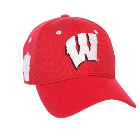 "Shop Wisconsin Badgers Zephyr Red ""Rambler"" Structured Stretch Fit Hat Cap (M/L)"