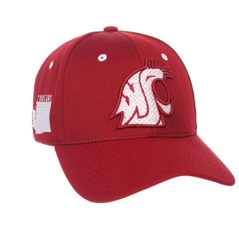 "Shop Washington State Cougars Zephyr Cardinal Red ""Rambler"" Stretch Fit Hat Cap (M/L)"