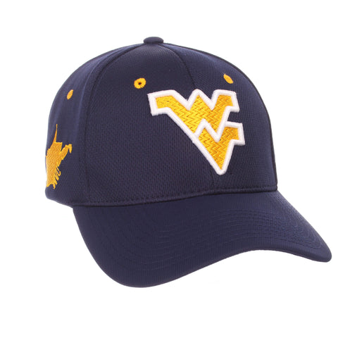 "Shop West Virginia Mountaineers Zephyr Dark Navy ""Rambler"" Stretch Fit Hat Cap (M/L)"