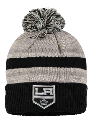 Shop Los Angeles Kings Fanatics Tri-Tone Black Gray Red Cuff Poofball Beanie Hat Cap - Sporting Up