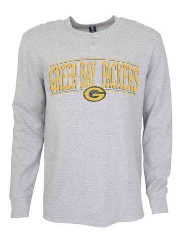 Shop Green Bay Packers Concepts Sport Gray Huddle Henley Long Sleeve Thermal T-Shirt