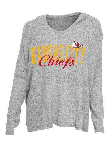 Shop Kansas City Chiefs Concepts Sport WOMEN'S Gray Reprise Oversized Hooded T-Shirt