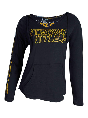 Pittsburgh Steelers Concepts Sport WOMEN'S Black Slide LS Hooded T-Shirt