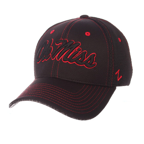 "Shop Ole Miss Rebels Zephyr Black ""Undertaker"" Mesh Stretch Fit Hat Cap (M/L)"