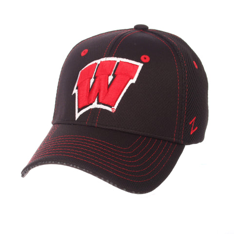 "Wisconsin Badgers Zephyr Black ""Undertaker"" Mesh Stretch Fit Hat Cap (M/L)"