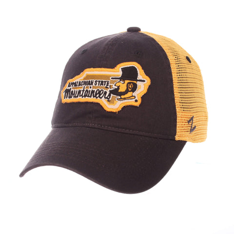 "Shop Appalachian State Mountaineers Zephyr Black ""Freeway"" Mesh Adj. Slouch Hat Cap"