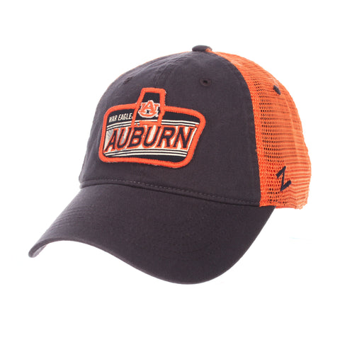"Shop Auburn Tigers War Eagle Zephyr ""Freeway"" Navy w/ Orange Mesh Adj. Slouch Hat Cap"