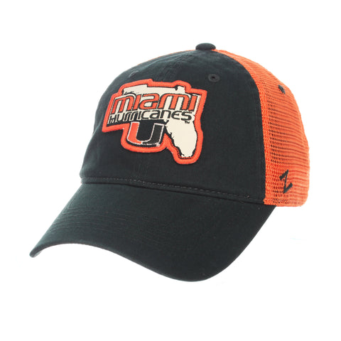 "Shop Miami Hurricanes Zephyr ""Freeway"" Green w/ Orange Mesh Adj. Slouch Hat Cap"