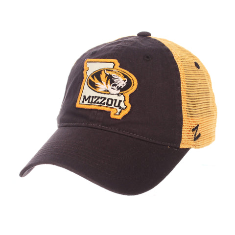 "Shop Missouri Tigers Zephyr ""Freeway"" Black w/ Yellow Mesh Adj. Slouch Hat Cap"