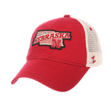 "Nebraska Cornhuskers Zephyr ""Freeway"" Red w/ Cream Mesh Adj. Slouch Hat Cap"