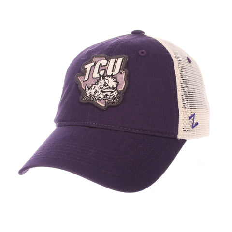 "TCU Horned Frogs Zephyr ""Freeway"" Purple w/ Cream Mesh Adj. Slouch Hat Cap"