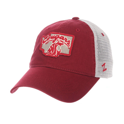 "Shop Washington State Cougars Zephyr ""Freeway"" Red w/ Gray Mesh Adj. Slouch Hat Cap"