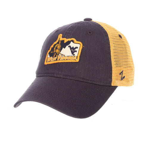 "West Virginia Mountaineers Zephyr Navy ""Freeway"" Mesh Adj. Slouch Hat Cap"