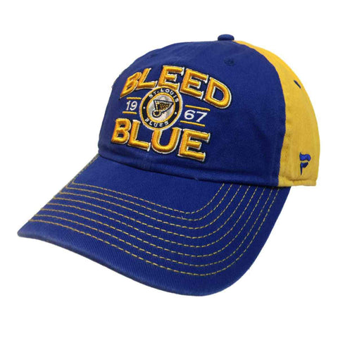 "St. Louis Blues Fanatics Blue & Yellow ""Bleed Blue"" Adj. Strap Slouch Hat Cap"