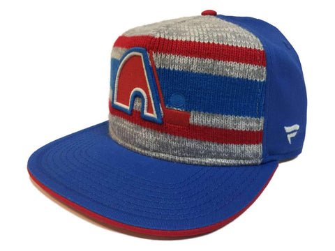 "Quebec Nordiques Fanatics Blue ""Dispatch"" Knit Adj. Snapback Flat Bill Hat Cap"