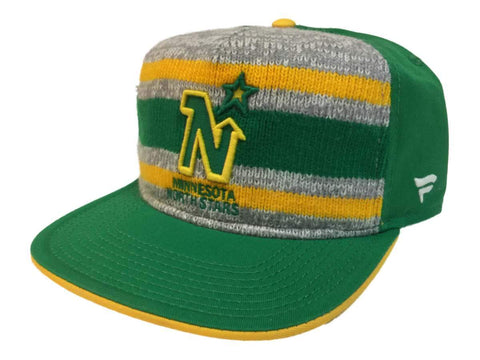 "Minnesota North Stars Fanatics Green ""Dispatch"" Knit Snapback Flat Bill Hat Cap"