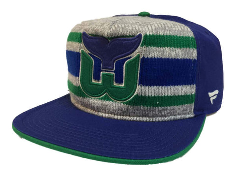 "Hartford Whalers Fanatics Blue ""Dispatch"" Knit Adj. Snapback Flat Bill Hat Cap"