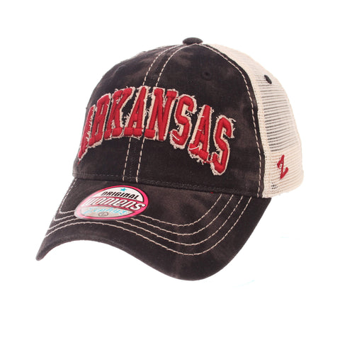 "Shop Arkansas Razorbacks Zephyr WOMEN'S Black Wash ""Dixie"" Mesh Adj. Slouch Hat Cap"