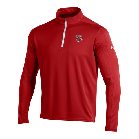 Wisconsin Badgers Under Armour Red Golf Loose 1/4 Zip LS Pullover