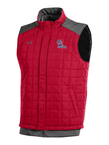 Ole Miss Rebels Under Armour Red Storm Loose Coldgear Full Zip Vest - Sporting Up