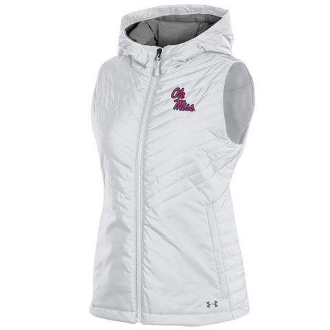 Ole Miss Rebels Under Armour WOMEN'S White Storm Fitted Hooded Puffer Vest - Sporting Up