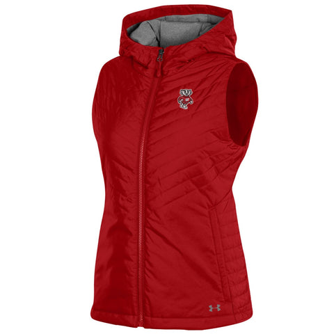 Shop Wisconsin Badgers Under Armour WOMEN'S Red Storm Fitted Hooded Puffer Vest
