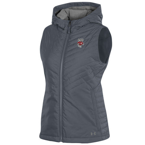 Wisconsin Badgers Under Armour WOMEN'S Gray Storm Fitted Hooded Puffer Vest