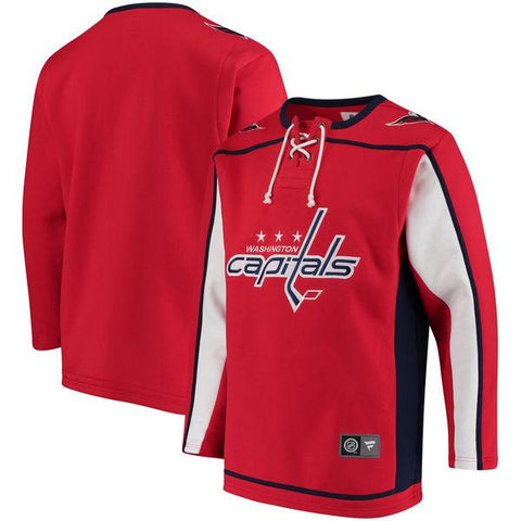 Shop Washington Capitals Fanatics Red Lace Up Fleece Hockey Jersey  Sweatshirt 51698cb3f