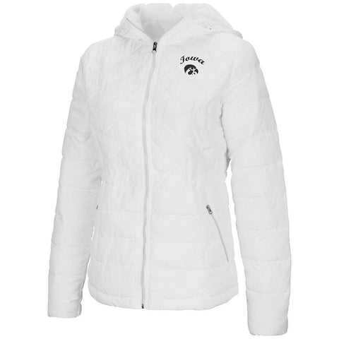 "Iowa Hawkeyes Colosseum WOMEN'S White ""As You Wish"" Hooded Puffer Jacket"