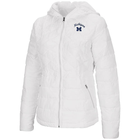 "Michigan Wolverines Colosseum WOMEN'S White ""As You Wish"" Hooded Puffer Jacket"