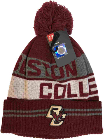Boston College Eagles Under Armour Dark Red Sideline Pom Pom Beanie Hat Cap
