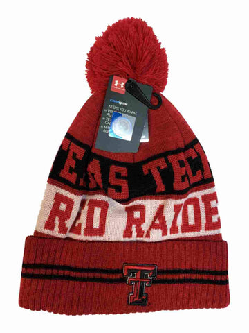 Texas Tech Red Raiders Under Armour Red Sideline Pom Pom Beanie Hat Cap