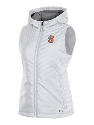 Syracuse Orange Under Armour WOMEN'S White Storm Fitted Hooded Puffer Vest