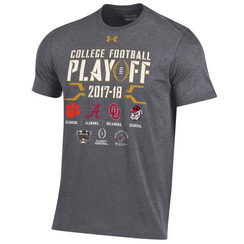 2018 College Football Playoffs Under Armour 4 Team Logo Gray T-Shirt