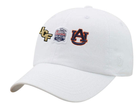 UCF Knights Auburn Tigers 2018 Peach Bowl White Adj Slouch Hat Cap
