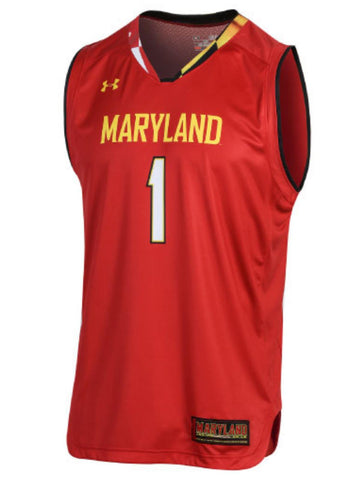 Maryland Terrapins Under Armour NCAA Basketball Replica #1 Red Jersey