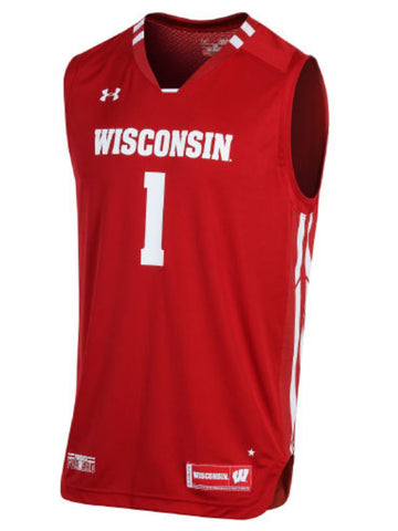 Wisconsin Badgers Under Armour NCAA Basketball Replica #1 Red Jersey