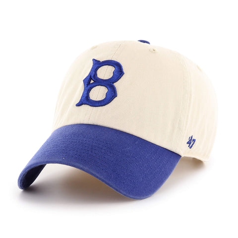 Brooklyn Dodgers 47 Brand Two-Tone Beige & Blue Clean Up Adj. Slouch Hat Cap