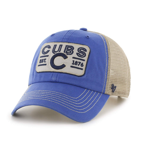0c316bcf1c1 Shop Chicago Cubs 47 Brand Blue with Tan Mesh   Patch Logo Snapback Slouch  Hat Cap