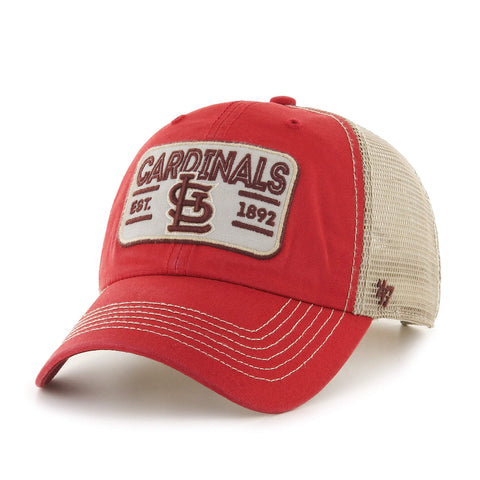 St. Louis Cardinals 47 Brand Red w Tan Mesh Patch Logo Snapback Slouch Hat Cap