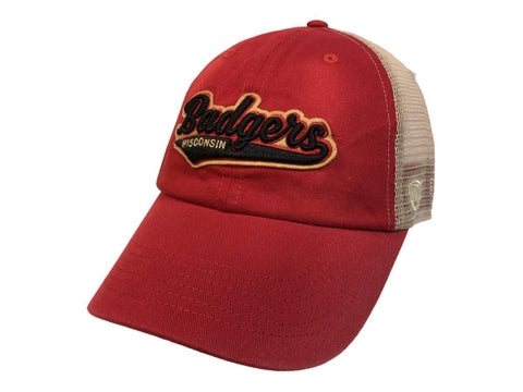 Wisconsin Badgers TOW Red with Tan Mesh Adjustable Snapback Slouch Hat Cap