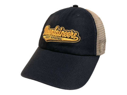 West Virginia Mountaineers TOW Navy with Tan Mesh Adj. Snapback Slouch Hat Cap
