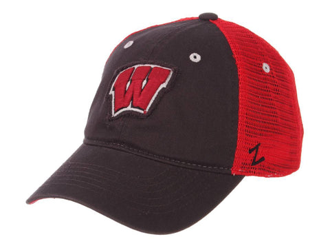 "Wisconsin Badgers Zephyr Dark Gray Red Mesh ""Homecoming"" Snapback Slouch Hat Cap"