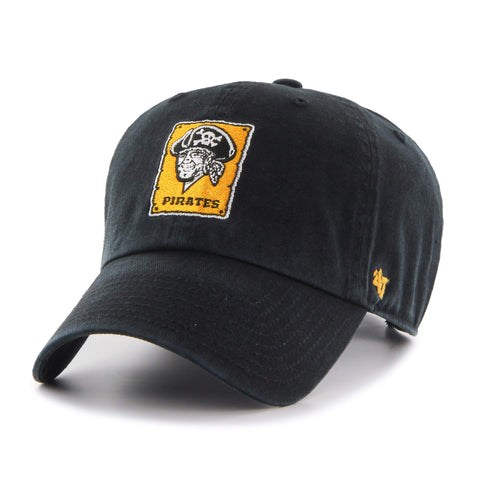 Pittsburgh Pirates 47 Brand Black Clean Up 1967 Retro Logo Adj. Slouch Hat Cap