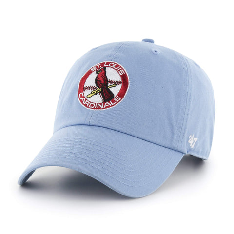 St. Louis Cardinals 47 Brand Baby Blue Clean Up 1965 Retro Logo Adj. Hat Cap