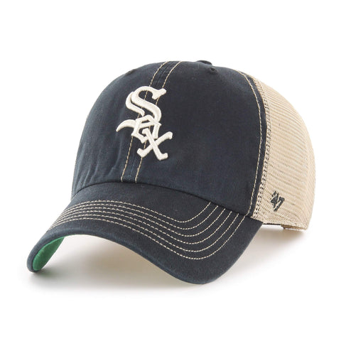 Chicago White Sox 47 Brand Black Trawler Clean Up Mesh Snapback Slouch Hat Cap