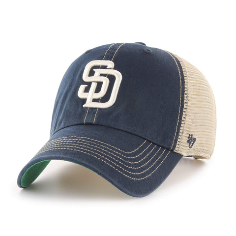 San Diego Padres 47 Brand Navy Trawler Clean Up Mesh Snapback Slouch Hat Cap